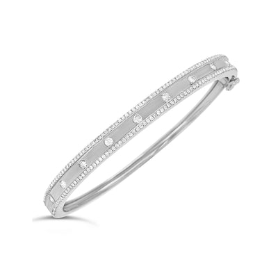 Bezel-Set & Pave Diamond Slim Bangle Bracelet