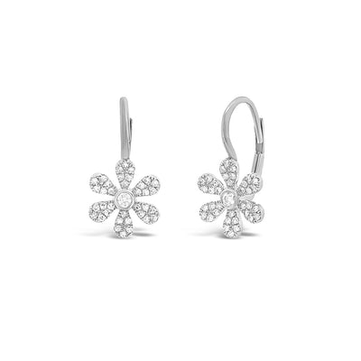 Diamond Flower Lever-Back Earrings