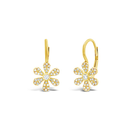 Diamond Flower Lever-back Earring