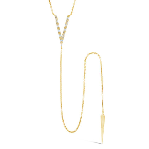 Simple Diamond-V Lariat Necklace
