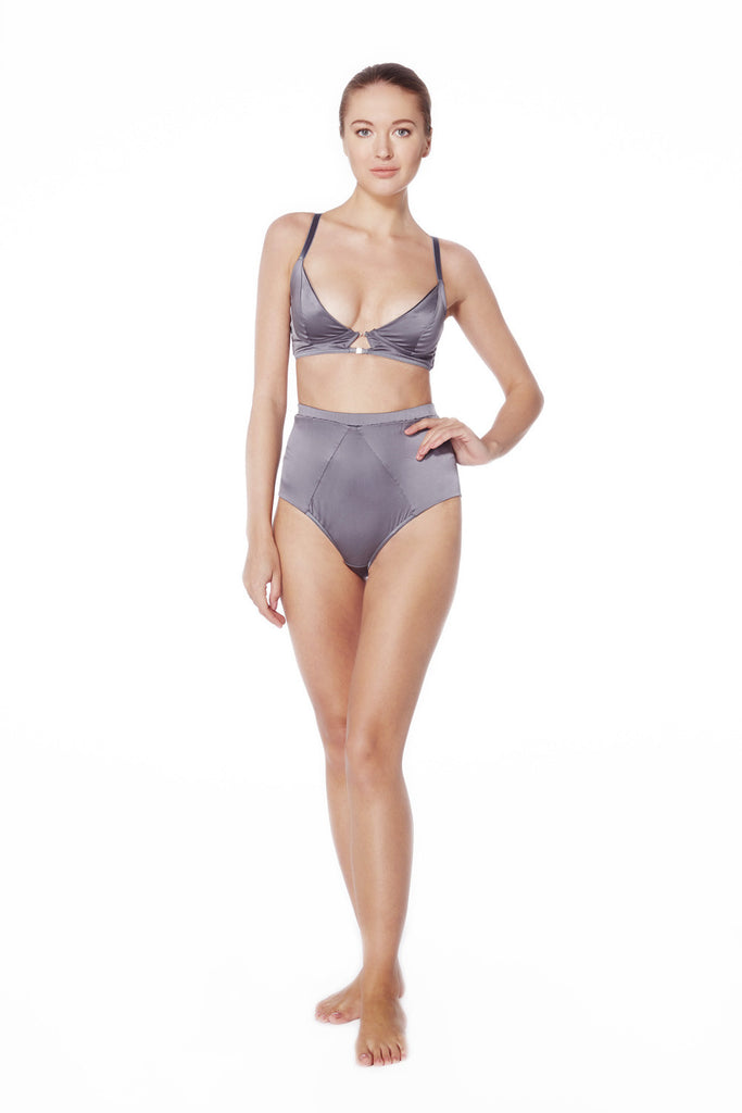 Graphite Satin High Waist Knickers