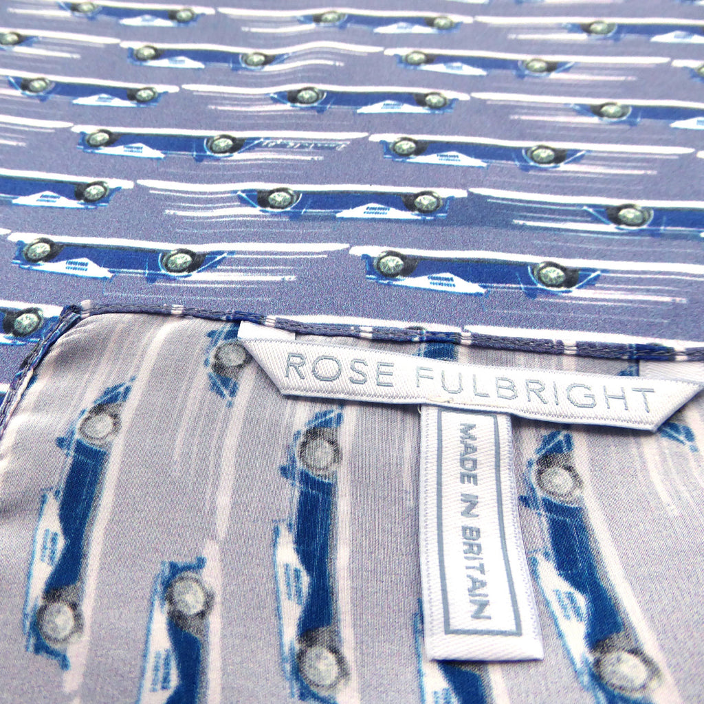 British Blue Morgan Motors Silk Pocket Square