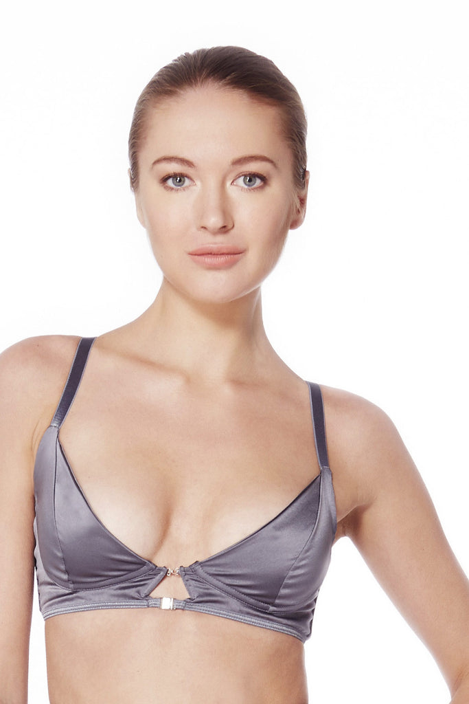 Graphite Satin Triangle Bra