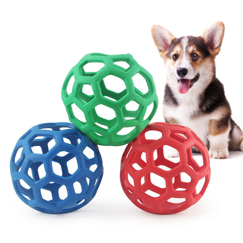 135mm Geometric Hollow Ball Pet Dog Natural Rubber Ball Toy Chew Toy For Small Medium Large Dogs