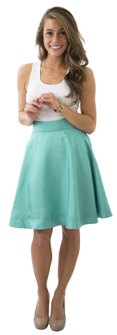 Sydney Skirt - Jade - Poly Shantung Lined