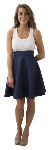 Sydney Skirt- Navy- Poly Shantung - Lined