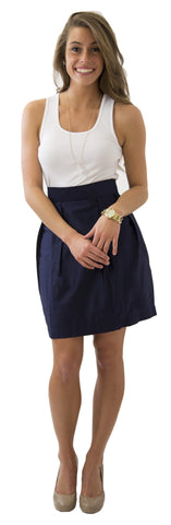 Charlotte Skirt- Navy- Cotton Sateen Unlined