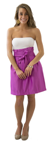Carolina Bow Skirt- Fuchsia- Poly Satin Unlined