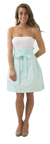Carolina Bow Skirt- Robin's Egg- Cotton Pique Lined