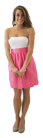 Aly Scallop Skirt- Watermelon- Poly Satin Lined