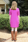 Christine Scallop Dress in Magenta