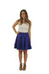 Sydney Skirt- Royal Blue- Poly Satin Reverse Unlined