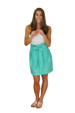 Carolina Bow Skirt- Jade - Poly Shantung Lined