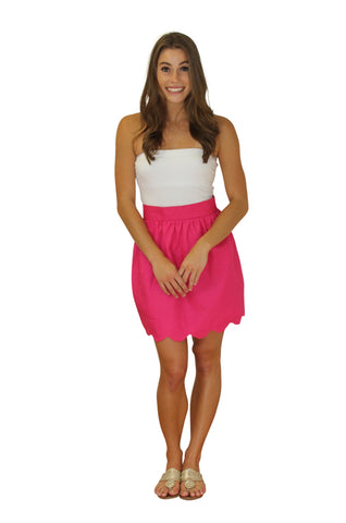 Aly Scallop Skirt- Raspberry- Twill Unlined
