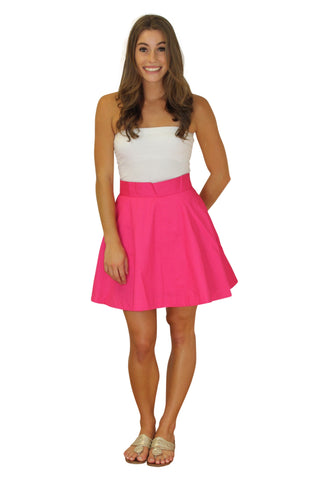 Sydney Skirt- Raspberry Cotton Sateen - Lined