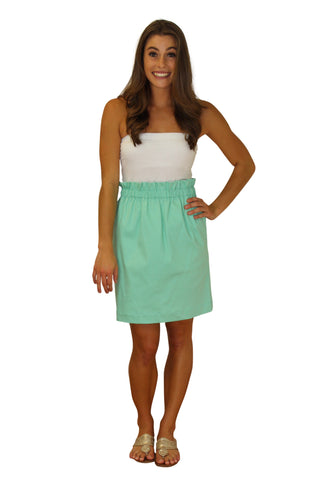 The Olivia Cinched Skirt-Mint Cotton Sateen Lined