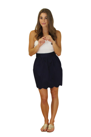Aly Scallop Skirt- Navy- Cotton Sateen Unlined