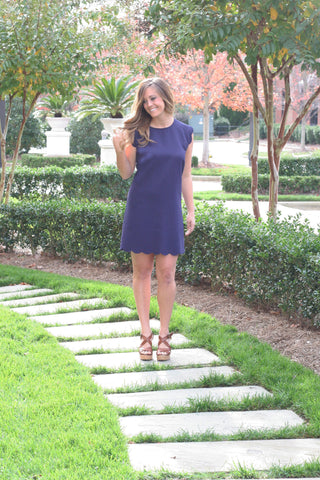 Talena Scallop Dress - Navy
