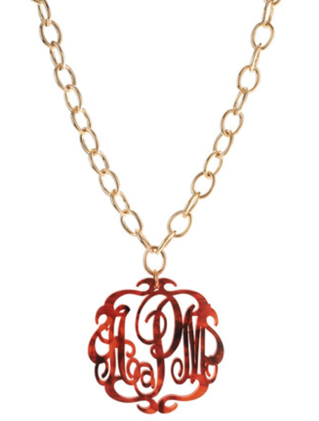 script monogram necklace on greenwich chain  u2013 frill clothing