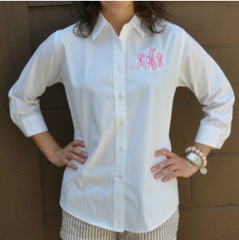 Monogram Embroidered Collar Shirt