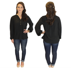 Amelia Long Sleeve Blouse - Black