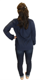 Amelia Long Sleeve Blouse - Navy