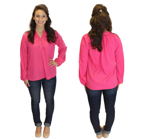Amelia Long Sleeve Blouse - Pink