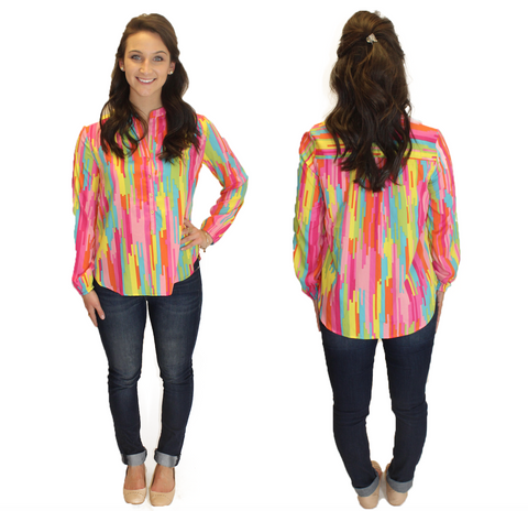 Amelia Long Sleeve Blouse - Multi Color Print