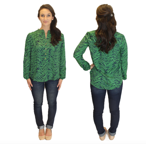 Amelia Long Sleeve Blouse - Green Print
