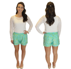 Virginia Shorts - Teal Print