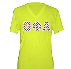 American Apparel Neon V-Neck with Greek Letters