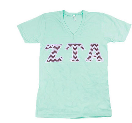American Apparel V-Neck with Greek Letters