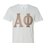 V-Neck Glitter Greek Letter Tee