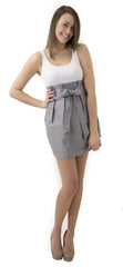 Carolina Bow Skirt- Gray- Cotton Sateen Unlined