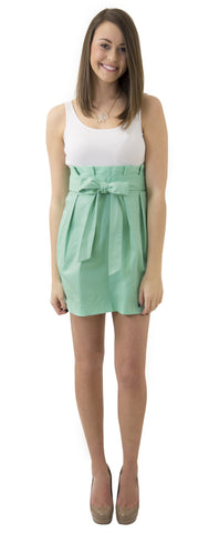 Carolina Bow Skirt- Seafoam- Cotton Sateen Lined