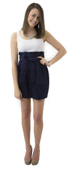 Carolina Bow Skirt- Navy- Cotton Sateen Lined