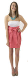 Carolina Bow Skirt - Coral- Cotton Sateen Lined