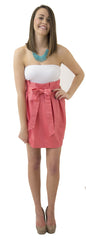 Carolina Bow Skirt - Coral- Cotton Sateen Unlined