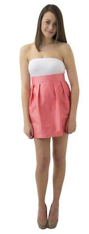 Charlotte Skirt- Coral- Cotton Sateen Lightweight Unlined