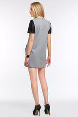 Faux Leather Sleeved Sheath Dress 1502101 GREY