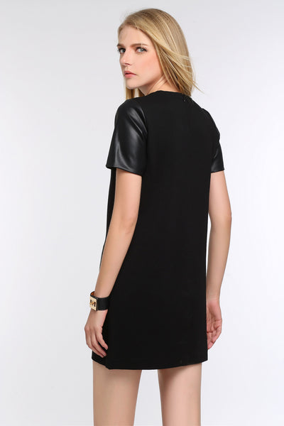 Faux Leather Sleeved Sheath Dress 1502101 BLACK