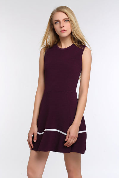 Two Toned A-line Dress 1508304 RED WINE