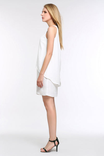 Sleeveless Tiered Chiffon Dress 1506202 WHITE