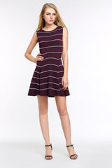 Striped A-Line Dress 1508301 RED WINE