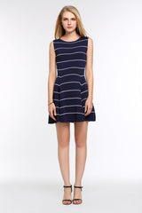 Striped A-Line Dress 1508301 NAVY