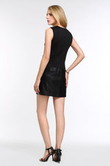 Sleeveless Dress With Faux Leather Panel 1508101 BLACK
