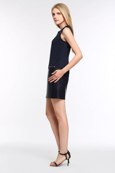Sleeveless Dress With Faux Leather Panel 1508101 ROYAL BLUE