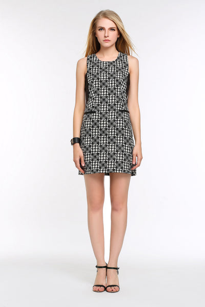 Mixed Media Print Dress with Faux Leather Trim 1502205