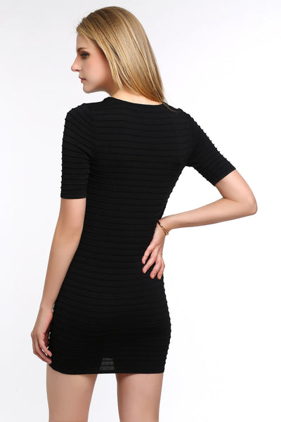 Ribbed Bodycon Dress 1506302 BLACK