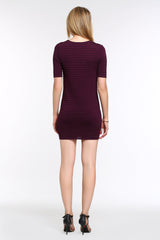 Ribbed Bodycon Dress 1506302 RED WINE